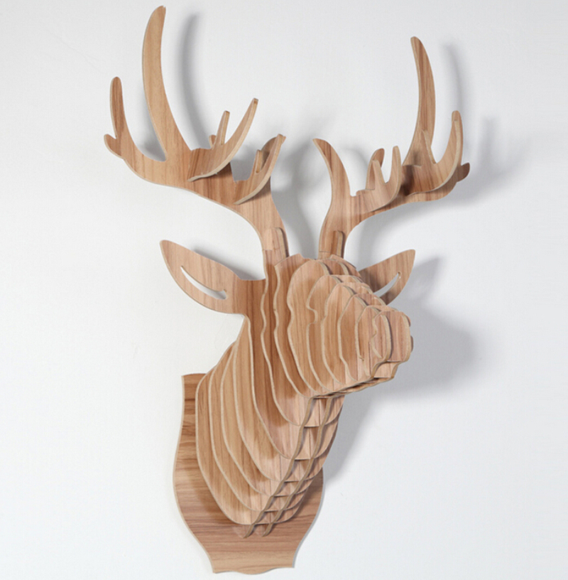 Buy Hot Sale Europe Style Wooden 3d Deer Head Hanging Art Wall Decoration