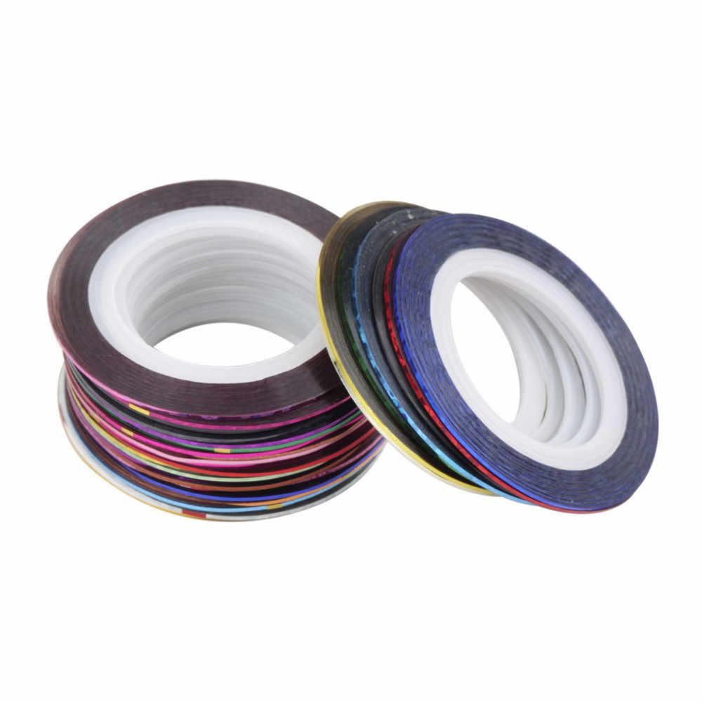 30ม้วนผสมสีเล็บแถบDecalsเคล็ดลับฟอยล์เทปสำหรับDIY 3Dเล็บเคล็ดลับตกแต่งเล็บฟอยล์decalsชุด
