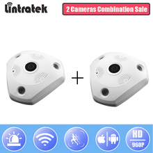 hot deal buy lintratek wireless panoramic camera 360 degree wifi security hd 960p ip camera fisheye video surveillance two way audio