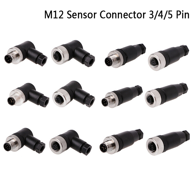 M12 Sensor Connector Waterproof Male&female Plug Screw Threaded Coupling 3/4/5 Pin