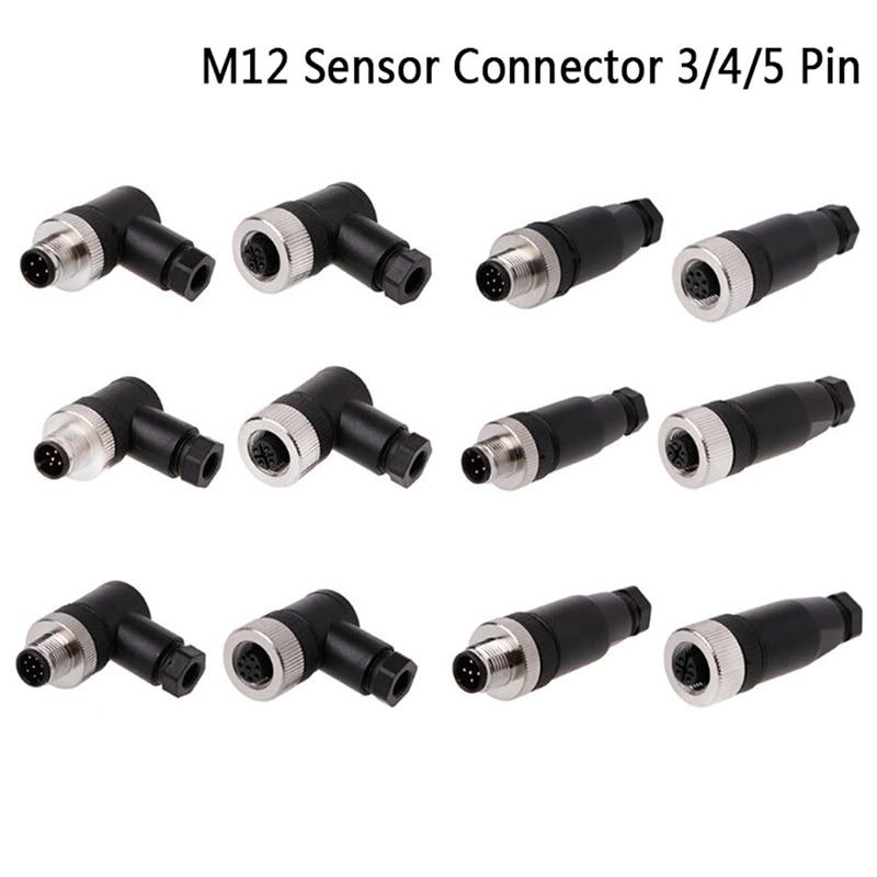 M12 Sensor Connector Waterproof Male&female Plug Screw Threaded Coupling 3/4/5 Pin