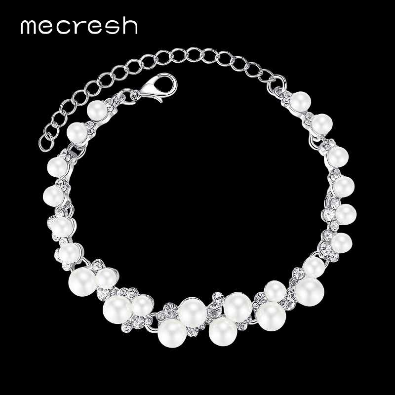 Mecresh Elegant Simulated Pearl Bridal Bracelets for Women Silver Color Crystal Wedding Pulseiras New European Jewelry MSL325
