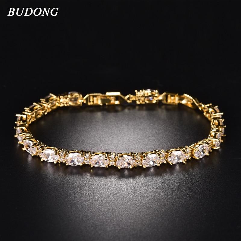 BUDONG 17cm Infinity Chain Link Luxus karkötő Női Ékszerek Ezüst / Arany Szín létrehozott Kék ovális kristály cirkónia Bangle XUL120