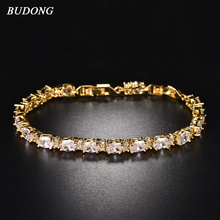 BUDONG 17cm Infinity Chain Link Luxury Bracelet Women Jewelry Silver Gold Color created Blue Oval Crystal