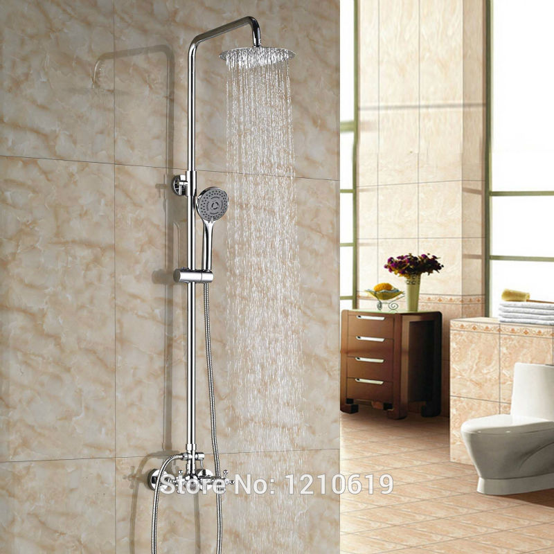 Newly Chrome Plate Bath Shower Mixer Faucet Dual Handles 8 Shwoer Set Faucet w/ Hand Shower sognare new wall mounted bathroom bath shower faucet with handheld shower head chrome finish shower faucet set mixer tap d5205