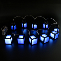 HAOCHU 65 inches Vintage Blue Cold Light Box Lamp Lantern Led String Lights Fairy Night Garland Ramadan Decor EID Party Supplies