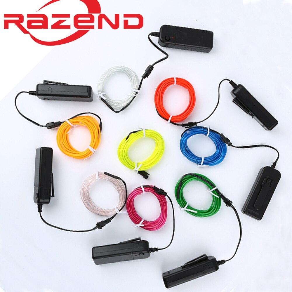 1 m/3 m/5 m 3 v luz de néon flexível fulgor el fio corda fita cabo tira led luzes de néon sapatos vestuário carro impermeável tira conduzida nova