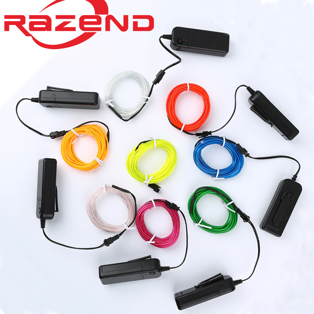 1m 3m 5M 3V Flexible Neon Light Glow EL Wire Rope tape Cable Strip LED Neon Innrech Market.com