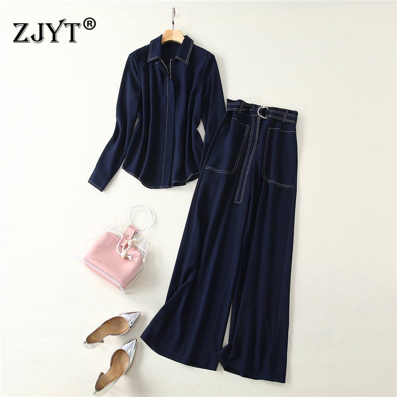 2019 New Spring Designer Women Runway Suit Set Office Lady Two Piece Outfits Turn Down Collar