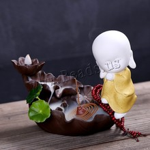 Backflow Incense Burner Creative Smoke Waterfall Small Buddha Holder Censer Chinese Style With 10pcs Cones