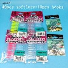 TSURINOYA  50PCS/LOT New AJING Fishing Lure 40PCS SOFT LURE+10PCS HOOKS 0.2g/30mm 4colorsAJING T-tail Soft Ocean Rock Bait