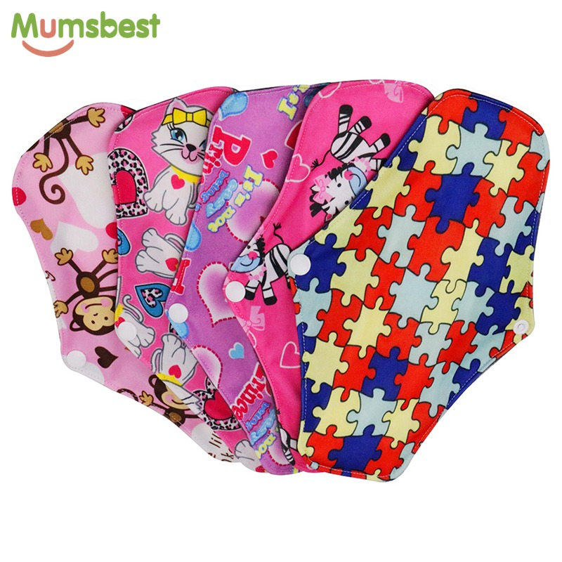 [Mumsbest] 5PCS Bamboo Charcoal Cloth Maternity Pads Menstrual Reusable Sanitary Pads Napkin Washable Waterproof Panty Liners strawberry print panty 5pcs