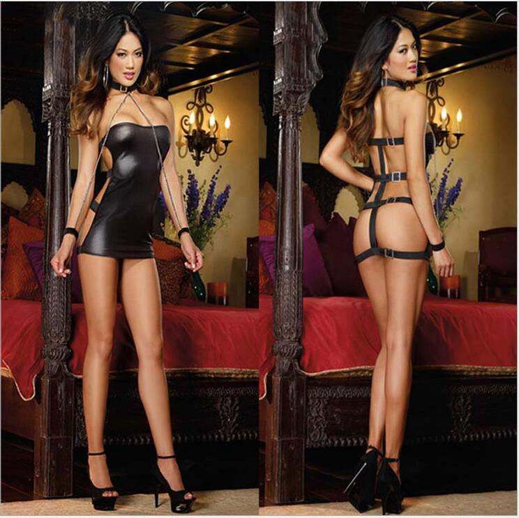Women Sexy Leather Dress,2016 Sexy Club Lingerie,Women Sexy Catsuit Costumes With Algema For Bdsm Leather Dress