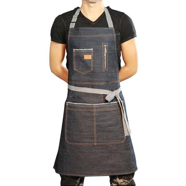 11 83 35 De Reduction Denim Cuisine Tablier Pour Hommes Nettoyage Uniformes Sans Manches Cuisine Restaurant Servante Tablier Unisexe Femme Poche