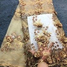 Ultime Tessuto Africano Del Merletto Ricamato 3d Fiore Del Merletto Nigeriano Tessuti di Alta Qualità Bella Tessuto di Pizzo Francese Per Il Vestito LM284