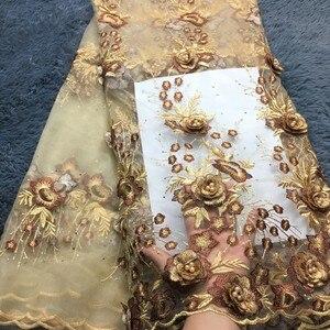 Image 1 - Ultime Tessuto Africano Del Merletto Ricamato 3d Fiore Del Merletto Nigeriano Tessuti di Alta Qualità Bella Tessuto di Pizzo Francese Per Il Vestito LM284