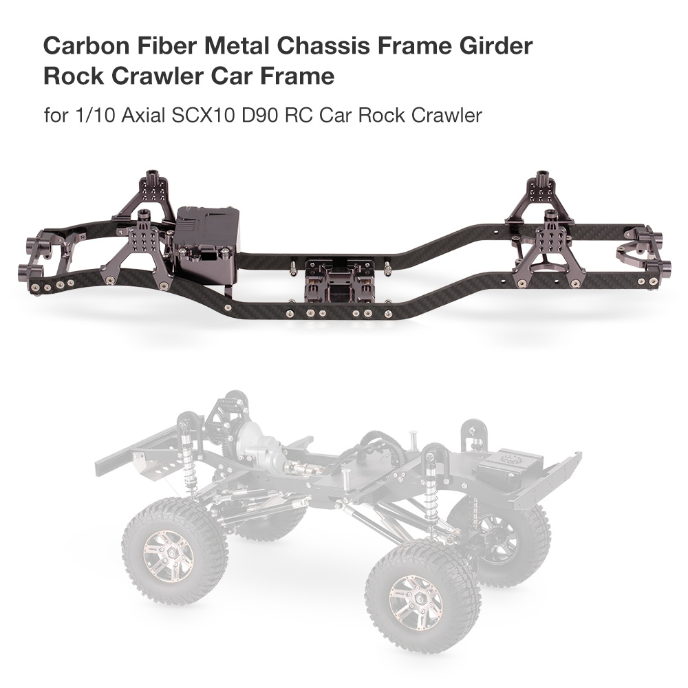 RC Car Carbon Fiber Metal Chassis Frame Girder RC Cars Frame for 1:10 Axial SCX10 D90 RC Rock RC Crawler Parts