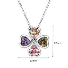 100% 925 Sterling Silver Fashion Necklaces Women Multi Color Stone Pendants Necklace for Jewerly