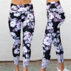 High Waist Yoga Pants Women's Fitness Sport Leggings Flower Printing Elastic Gym Workout Tights S-XL Running Trousers Plus Size 4
