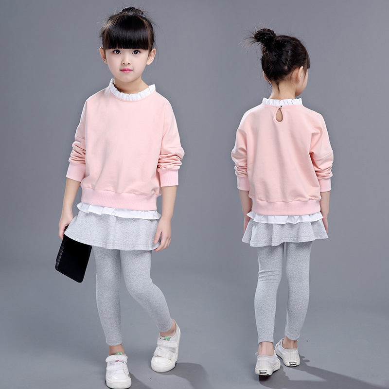 Cotton Toddler Girl Clothes Autumn 2018 Pink O-neck Lace Sweatshirt+pants Set Girl Boutique Kids Clothing Back To School Outfit