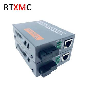 3 Pairs HTB-GS-03 Gigabit Fiber Optical Media Converter 10/100/1000Mbps Single Mode Single Fiber SC Port External Power Supply
