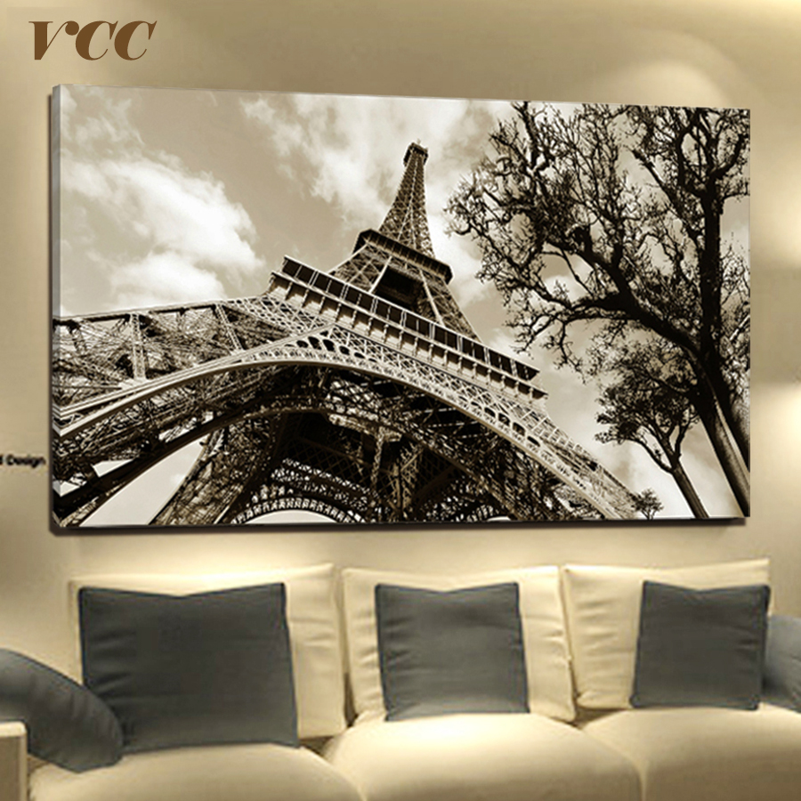 Wall Art Canvas Painting Paris Menara Eiffel Canvas Art Picture Posters And Prints Wall Pictures For Living Room Home Painting