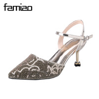 FAMIAO Fashion Buckle Crystals Bling Pumps Women Elegant Thin High Heels Point Toe Party Wedding Shoes