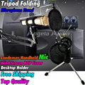 Desktop Tripod Folding Microphone Stand Wind Screen Pop Filter Mask Shied Recording Mic Holder For Studio Computer Karaoke Skype