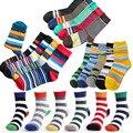6 par/lote y 5 par/lote marca algodón de los hombres calcetines calcetines masculinos vendimia calcetines de rayas calcetines de colores summer refrescante diseño feliz