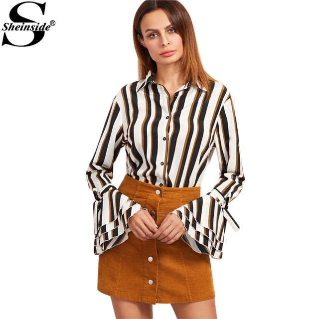 Sheinside Women Tops Long Sleeve Fashion Tops Office Wear Women Work Shirt Multicolor Striped Belted Bell Sleeve Blouse