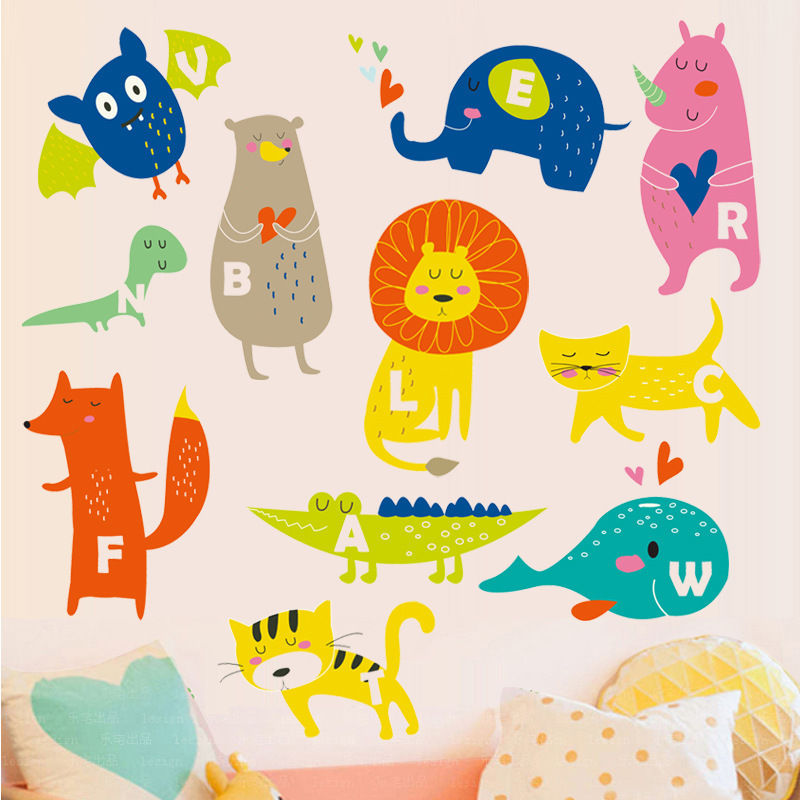 Cute Animals Alphabet Wall Stickers Kids Nursery Decal
