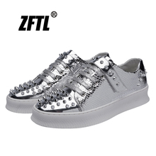 ZFTL New Men's Rivet shoes Male punk rock shoes big size male British casual shoes Metal sequins Platform shoes  090 punk shoes big shoes special custom shoes soled cloth strap for lattice platform shoes custom 1381n