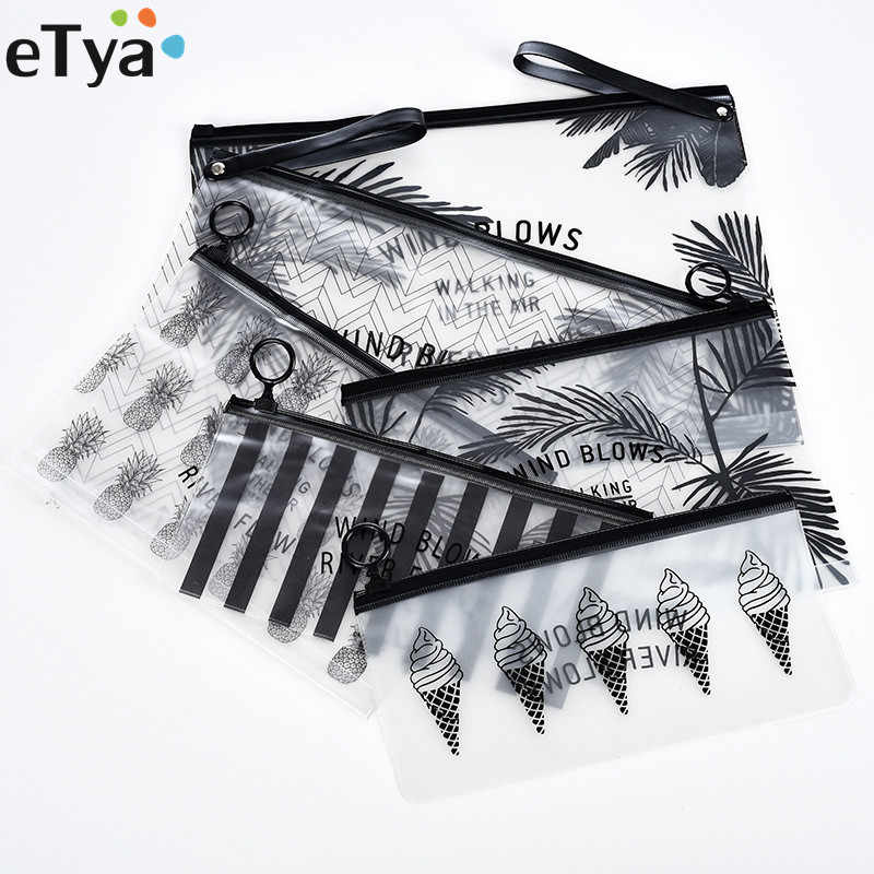 eTya Fashion Travel Women Clear Transparent Cosmetic Bag Small Large PVC Necessary Makeup Bag Case  Bath Wash Organizer Set
