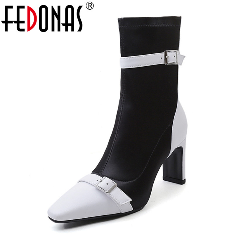FEDONAS Brand Mid-calf Boots Women Genuine Leather High Heels Warm Autumn Winter Martin Shoes Woman Buckles Party Prom Pumps fedonas 1new women mid calf boots autumn winter warm high heels shoes woman pointed toe elegant bling party prom dancing pumps