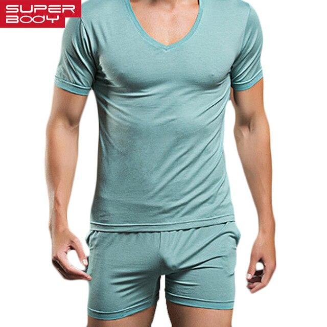 Мужская сексуальная пижама набор штаны и футболка фирменная повседневная пижама боксеры и футболка с коротким рукавом