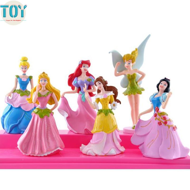6 Pcs Princess Snow White Action Figures Ariel Cinderella Belle Toy Cake Toppers