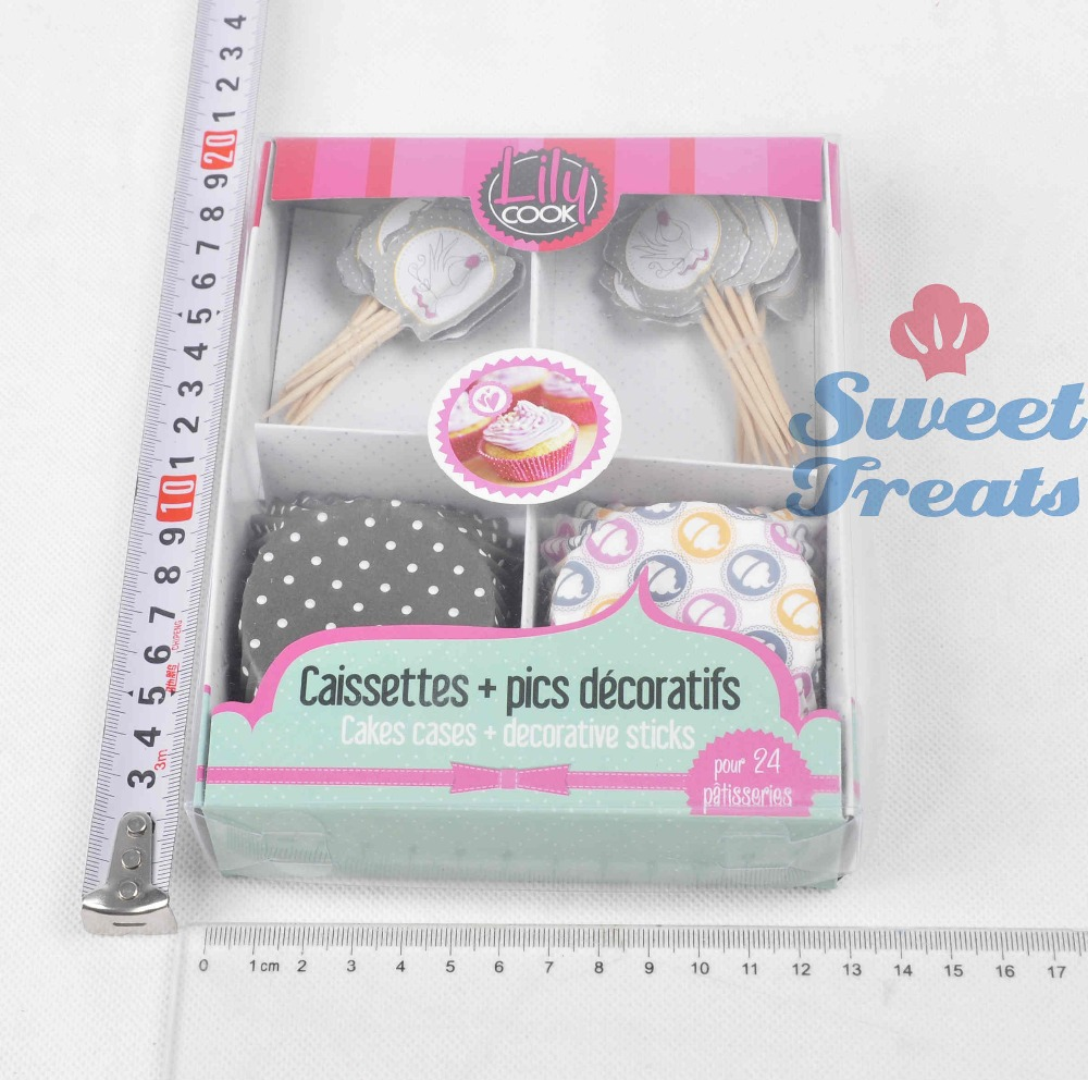 Grey 24 Cupcake Liners And Cake Toppers Set For Birthday Party Celebration Decoration Kit In Cup Molds From Home Garden On