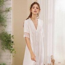 Roseheart Women Fashion White Sexy Sleepwear Nightdress Lace Nightwear Sleepshirts Luxury Nightgown Female Court Gown