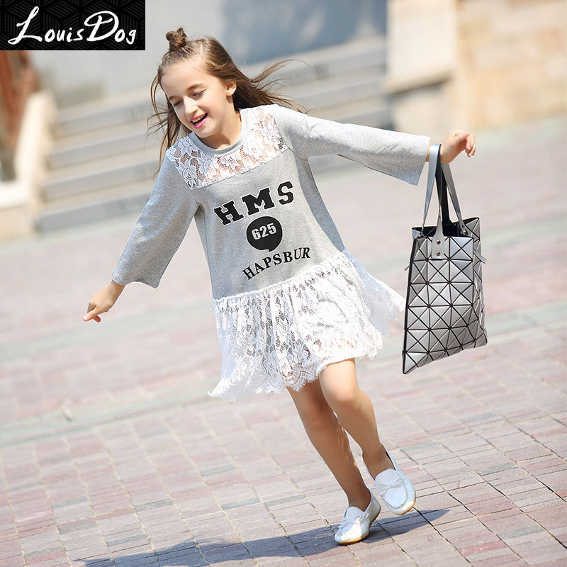 LouisDog Drop Waist Dress Teenage Girls Long Sleeve Cotton Lace Patchwork Letter Print Cute Sweatshirt Dresses Children
