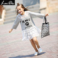 LouisDog Drop Waist Dress Teenage Girls Long Sleeve Cotton Lace Patchwork Dress Letter Print Cute Sweatshirt Dresses Children
