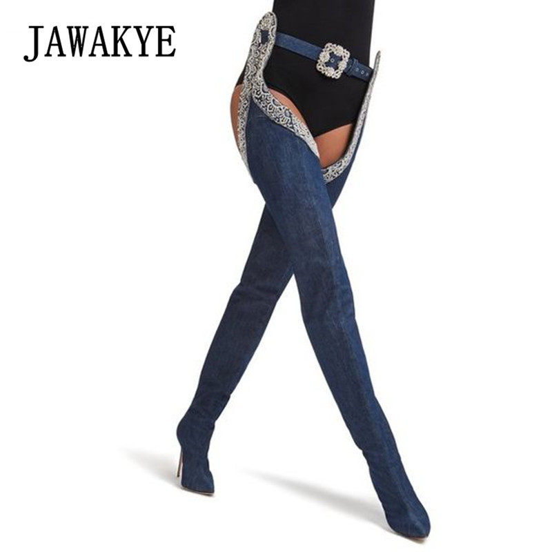 New Arrival Denim Blue Jeans Thigh high Pant boots Women Sexy Rhinestone Buckle High heels botas largas Cowboy knight boots denim