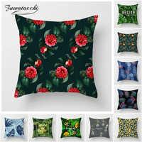 Fuwatacchi Tropischen Stil Kissen Abdeckung Blume Blatt Ananas Kissen Abdeckung für Home Stuhl Sofa Rote Blume Dekorative Kissen