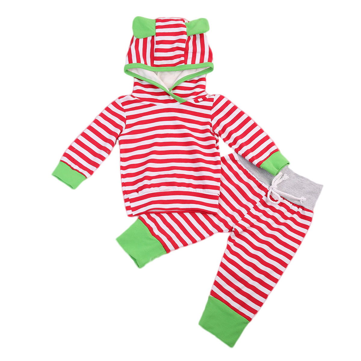 Striped Tops Hoodis Long Sleeve Hooded Pants Casual Outfit Clothing XMAX Newborn Kids Baby Girl Boys Clothes Sets girls tops cute pants outfit clothes newborn kids baby girl clothing sets summer off shoulder striped short sleeve 1 6t