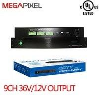 Крепление Питание адаптер 9 канал DC36V DC12V выход Мощность коробка 10A для видеонаблюдения видео камер безопасности