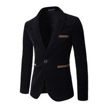 New winter males's Corduroy button pocket slim go well with costume coat shade gentleman