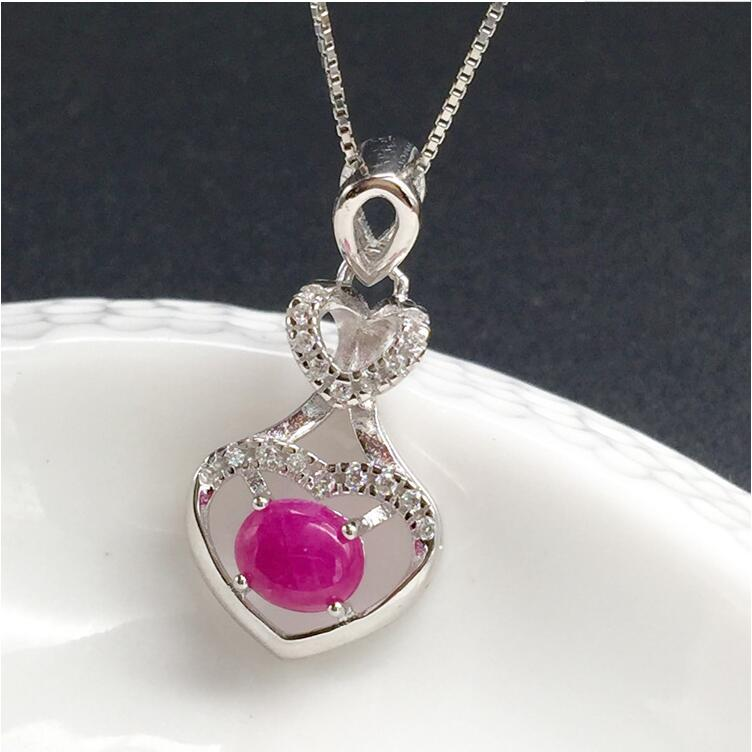 Ruby necklace pendant Love Heart Style Origin and natural ruby 925 sterling silver For men or women jewelry 5*6mm pd2 ztung custom made pd2 bracelet sterling silver for women and men have heart for love