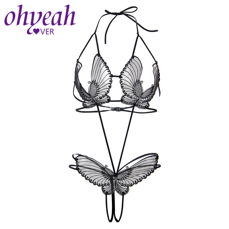 Ohyeahlover Transparent <font><b>Body</b></font> Butterfly Costume <font><b>Women</b></font> <font><b>Bodies</b></font> Open Bust <font><b>Sexy</b></font> <font><b>Suit</b></font> Hot Erotic Crotchless Teddy <font><b>Lingerie</b></font> RM80762 image