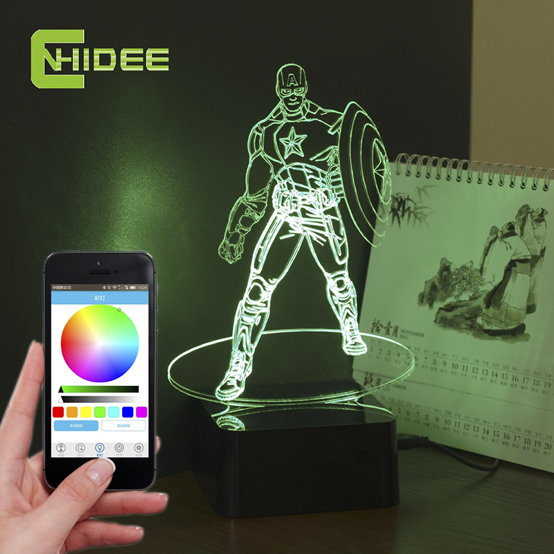 ФОТО CNHIDEE Novelty for American Captain 3D Xmas Led Light Bluetooth Music Dimmable Lamp as Creative Gift Desk Nightlight for Kids