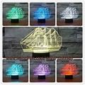 3D Sailing Boat navio Presente Casa Café Decoração Noite luz USB Lâmpada de Mesa Led 7 Cores mudança ilusão Criança crianças