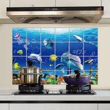 60x90 см, водостойкая алюминиевая фольга, наклейка на стену, плитка для кухни, ванной комнаты, морской мир, настенные аксессуары для дома, 8 LXY9